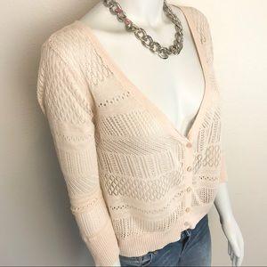 WORTHINGTON Light Tan Knit Eyelet Cardigan Sweater